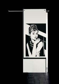 Usa glisanta cu montaj la exteriorul peretelui Audrey Hepburn, bust - Usi glisante la exteriorul peretelui