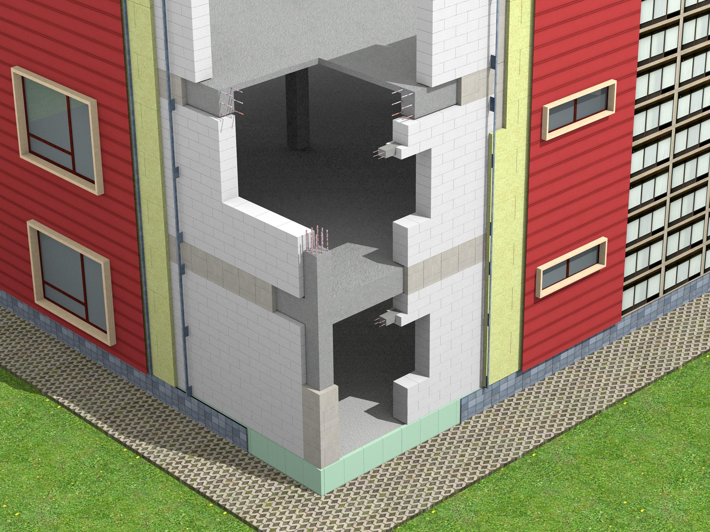 Exemplu zidarie de umplutura (cadre din beton armat) - Pereti de exterior din zidarie de blocuri