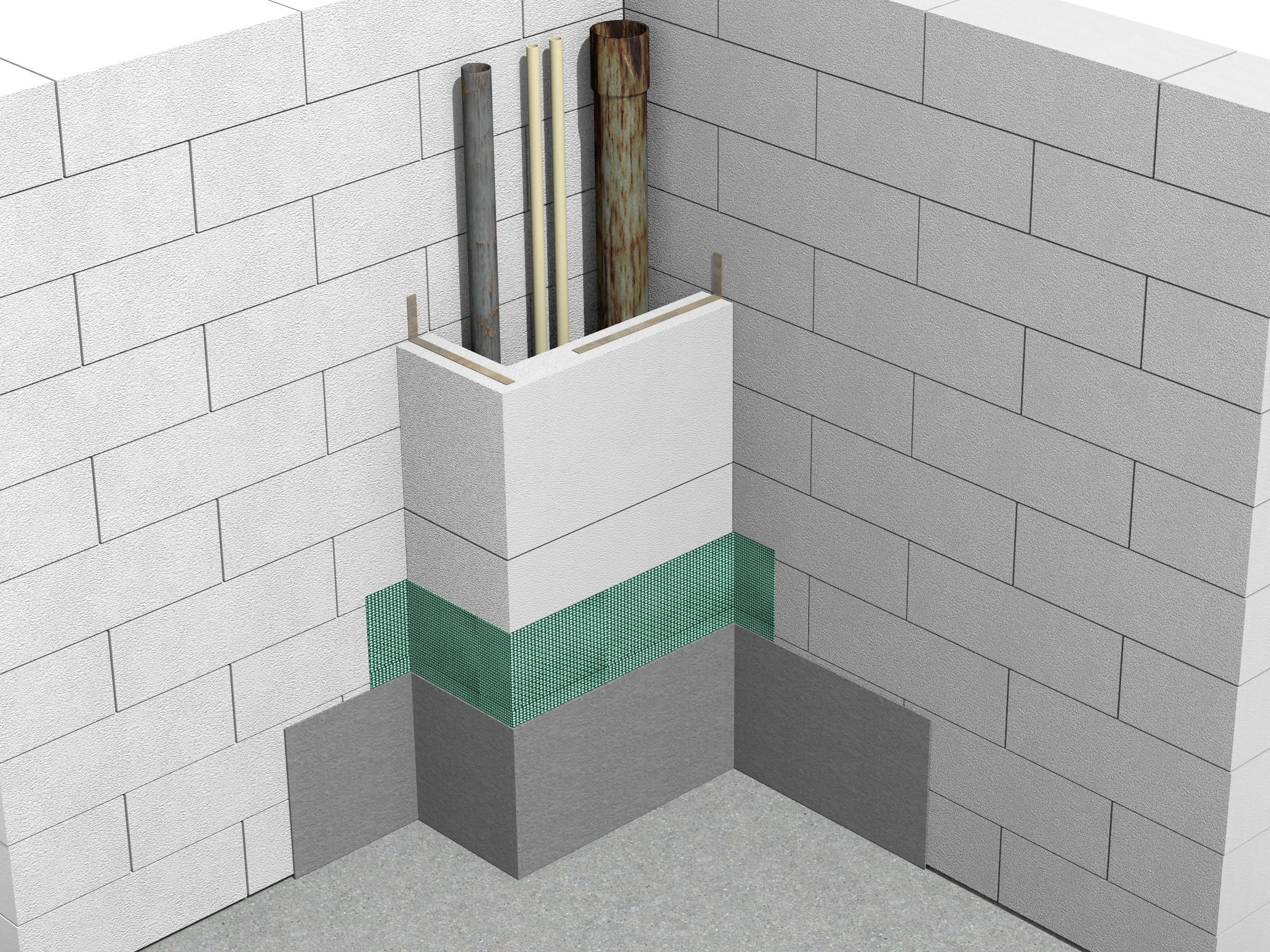 Detaliu ghena de instalatii cu profile BL - Alte constructii din zidarie Ytong