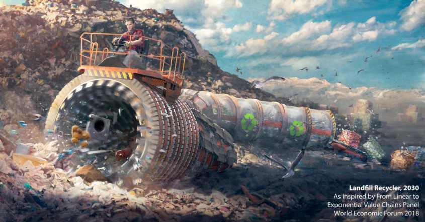 Reciclator de deseuri - Privind către viitor ilustrații care ne arată cum pot fi arhitectura și
