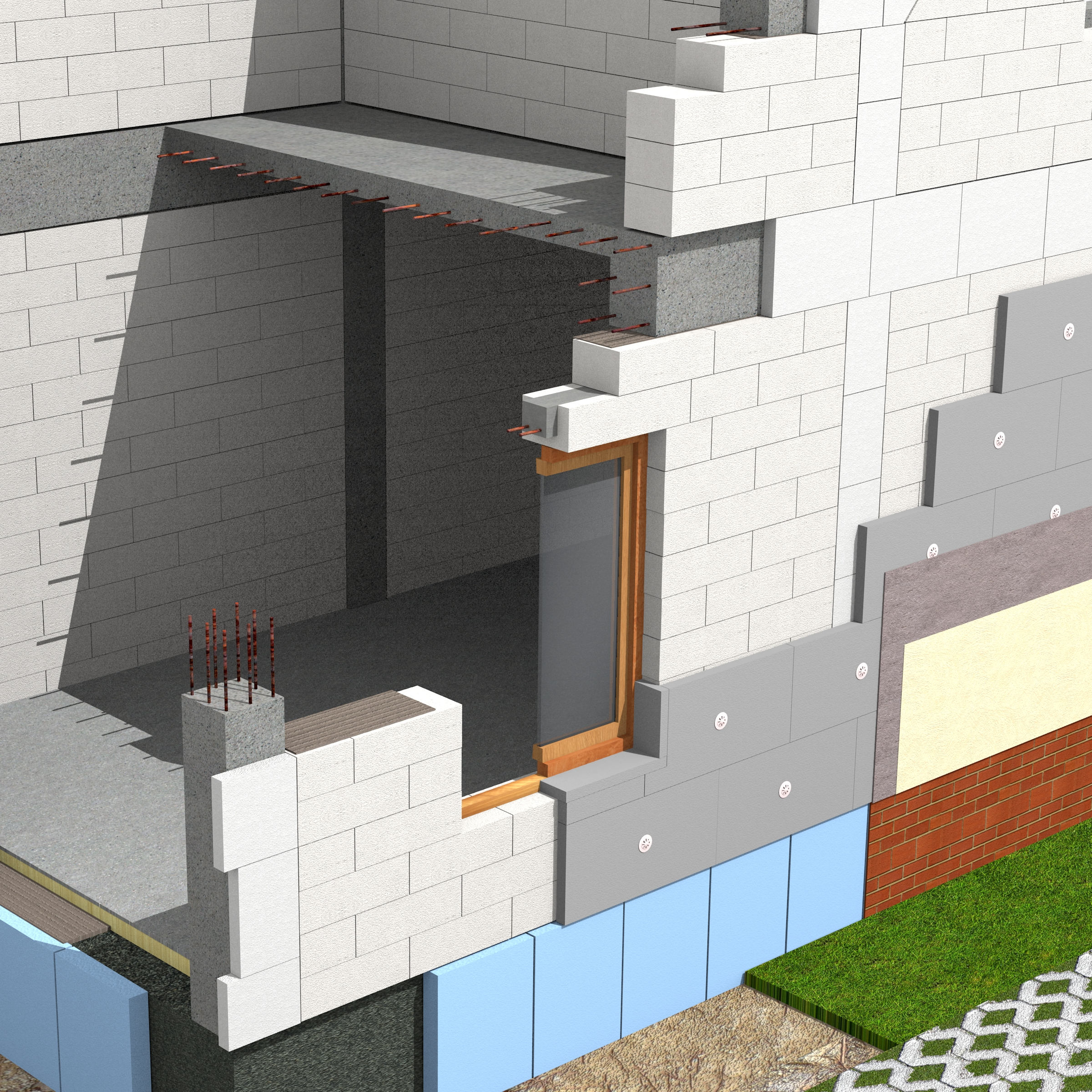 Blocuri BCA MACON 2,5 cu latime de 30cm si polistiren expandat de 10cm in sistem de zidarie multistrat pentru inchiderea la exterior a unei structuri in cadre din beton armat. - Sistem de zidarie confinata din BCA Macon pentru constructii rezidentiale, publice si industriale