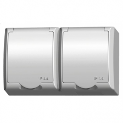 Priza dubla schuko IP-44 - Aparataj electric fala