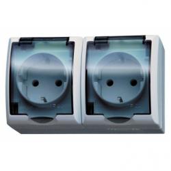 Priza dubla schuko IP-44 capac transparent - Aparataj electric fala