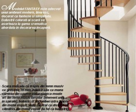 Scara in spirala cu trepte din lemn masiv - FANTASY - Scari interioare din lemn in spirala - ESTFELLER