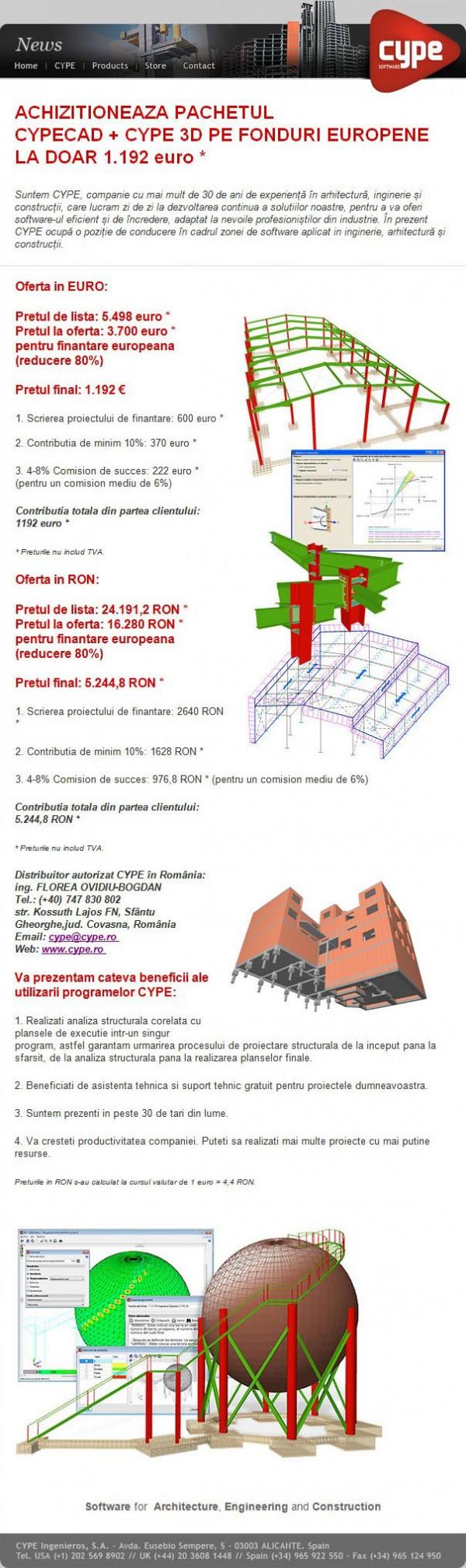 CYPECAD + CYPE 3D la doar 1.192 euro + TVA - CYPECAD + CYPE 3D la doar 1.192 euro + TVA poze