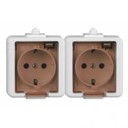 Priza dubla schuko cu capac IP44 - Aparataj electric smart