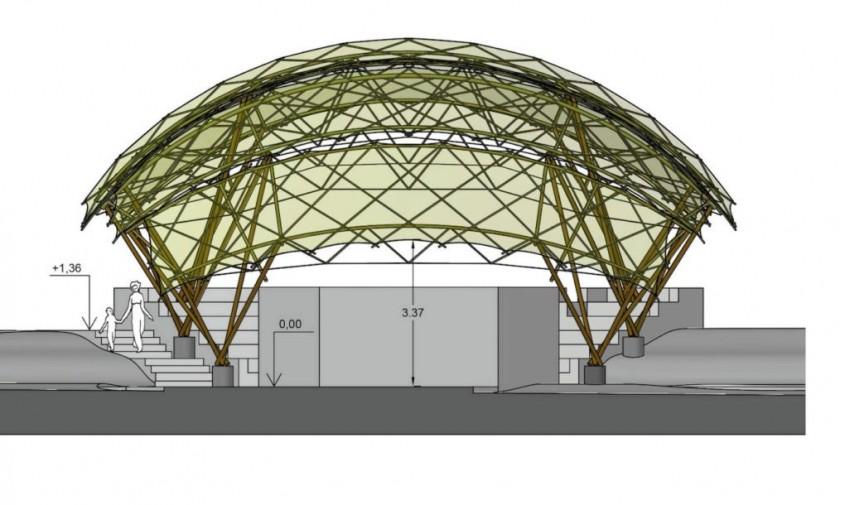 Bamboo Amphiteater Space Structure - planuri - Frumusețe în natură un amfiteatru din bambus asamblat în