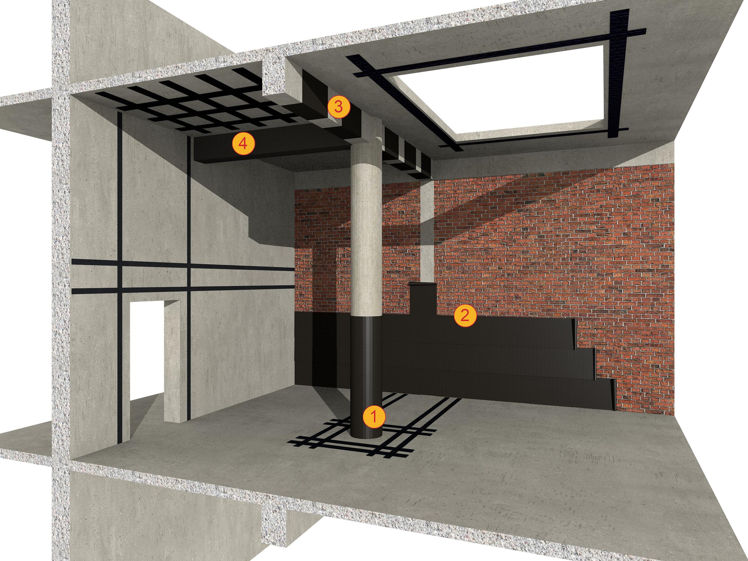 Consolidarea structurilor din beton si zidarie cu tesaturi din fibra de carbon SikaWrap - Consolidari structurale cu materiale compozite Sika CarboDur si SikaWrap