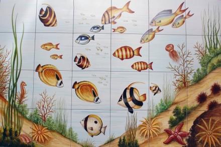 Peisaj subacvatic pesti - Faianta pentru piscine