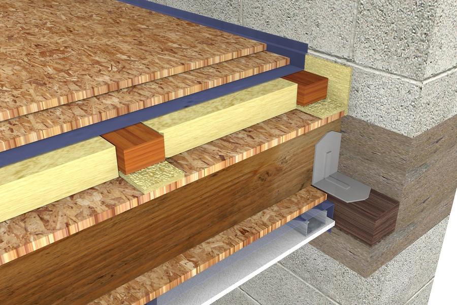 Detaliu montaj vata de sticla intre grinzi - Etapele de montaj a vatei de sticla la un planseu pe structura de lemn