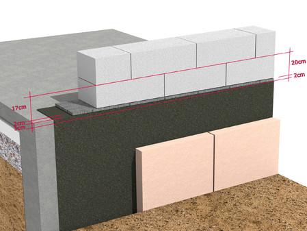 Cazul 2 - Detaliu de soclu cu abateri de nivel mari - Montarea primului rand de zidarie Ytong - Detalii de soclu