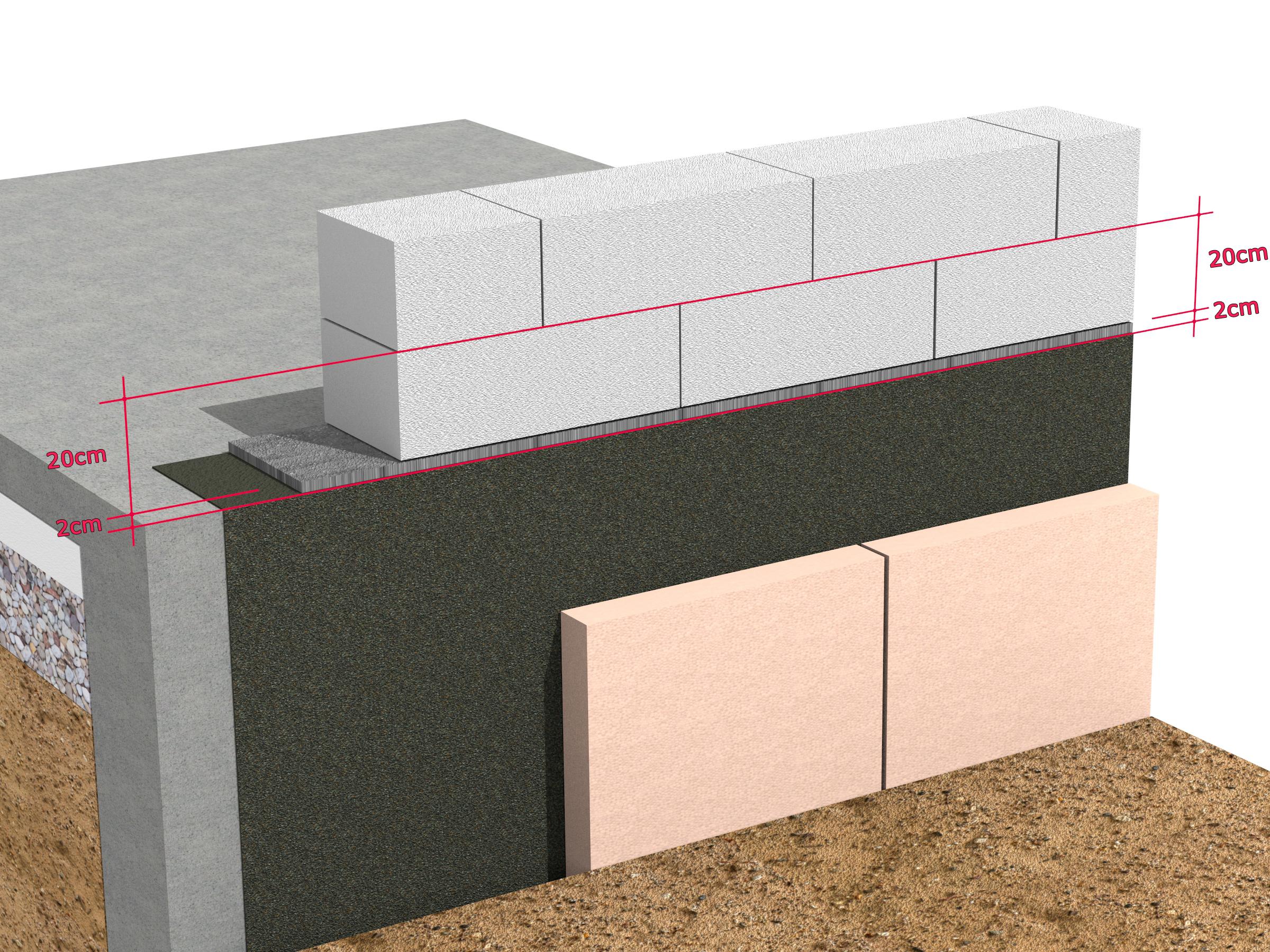 Cazul 1 - Detaliu de soclu fara abateri de nivel - Montarea primului rand de zidarie