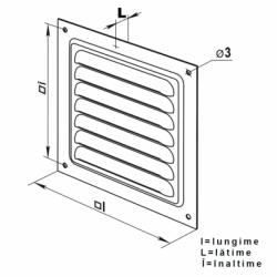 Grila metalica 200*200mm negru - Accesorii ventilatie grile pvc si metalice
