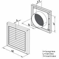 Grila dreptunghiulara cu manson diam 125 mm, 187*187mm - Accesorii ventilatie grile pvc si metalice