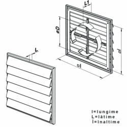 Grila PVC cu jaluzele gravitationale, 250*250mm, racord adjustabil 100-150mm - Accesorii ventilatie grile pvc si metalice