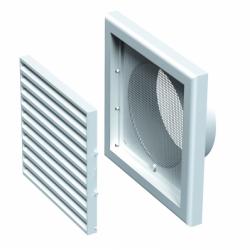Grila dreptunghiulara cu manson diam 125mm, 187*187mm - Accesorii ventilatie grile pvc si metalice