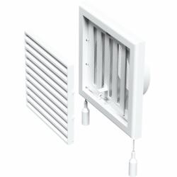 Grila ventilatie cu inchidere manuala diam 100mm, 154*154mm - Accesorii ventilatie grile pvc si metalice