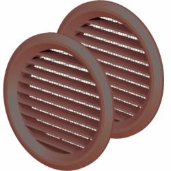 Set 2 grile usa diam 50mm,ABS, cu plasa maro - Accesorii ventilatie grile pvc si metalice