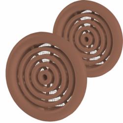 Set 2 grile usa diam 50mm, ABS - cercuri concentrice cu plasa maro - Accesorii ventilatie grile pvc si metalice