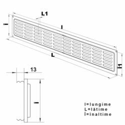 Grila metalica 475*80mm maro - Accesorii ventilatie grile pvc si metalice