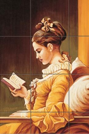 Fata citind - Faianta pictata pentru living