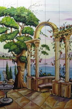 Gradina cu fantana arteziana si coloane pe malul lacului - Faianta pictata pentru living