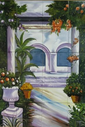 Gradina cu flori si coloane - Faianta pictata pentru living