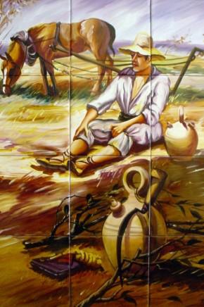 Taran odihnindu-se dupa munca la camp - Faianta pictata pentru living