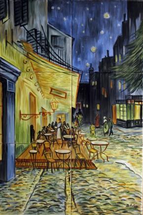 Terasa cafenelei, noaptea - Faianta pictata pentru living