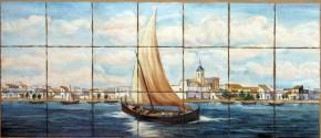 Corabie apropiindu-se de tarm - Faianta pictata pentru living