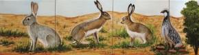Iepurasi si pasare - Faianta pictata pentru living