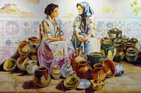 Asteptand clienti pentru ceramica realizata manual - Faianta pictata pentru living