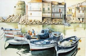 Barci ancorate la mal - Faianta pictata pentru living