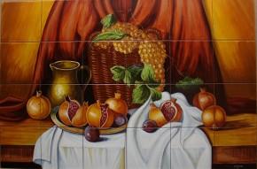 Decor struguri si rodii - Faianta pictata pentru living