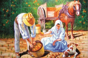 La cules de portocale - Faianta pictata pentru living