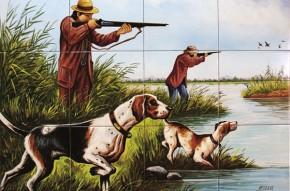 La vanatoare de pasari in delta - Faianta pictata pentru living
