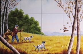 La vanatoare de pasari - Faianta pictata pentru living