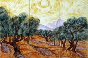 Maslini cu cer galben si soare - Faianta pictata pentru living