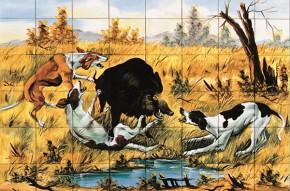 Mistret incercuit de caini de vanatoare - multicolor - Faianta pictata pentru living