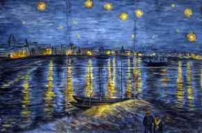 Noapte instelata peste Ron - Faianta pictata pentru living