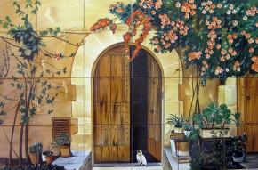 Pisica in prag - Faianta pictata pentru living