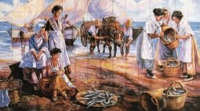 Scena de viata pescareasca - Faianta pictata pentru living