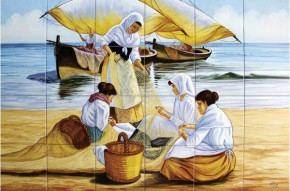 Sotii de pescari reparand un navod - Faianta pictata pentru living