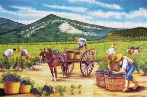 Tarani pe camp la culesul viei - Faianta pictata pentru living