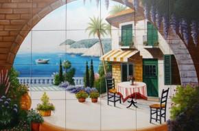 Terasa pe malul marii - Faianta pictata pentru living