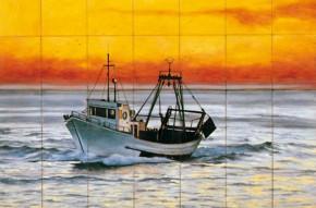 Vapor pe mare - Faianta pictata pentru living