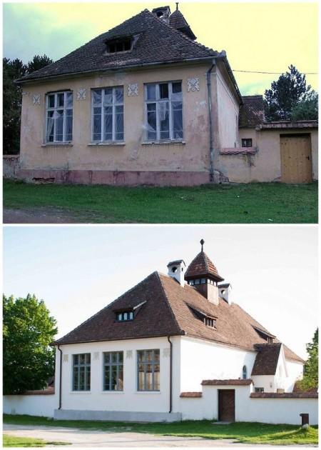 Scoala Evanghelica, inainte si dupa restaurare - Casele de Oaspeti Cincsor - o restaurare excelenta pentru turismul autentic