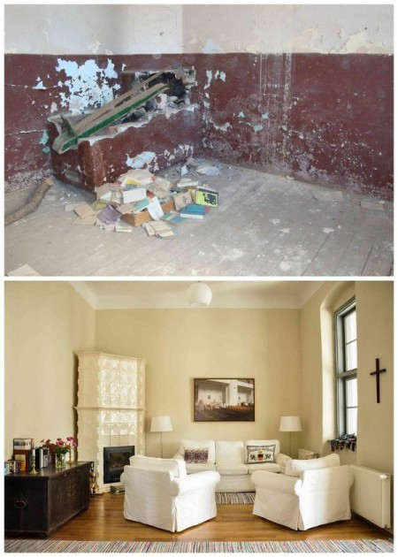 Vechea cancelarie, inainte si dupa restaurare, acum zona de lounge - Casele de Oaspeti Cincsor - o restaurare excelenta pentru turismul autentic