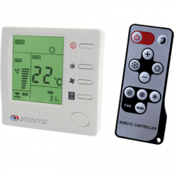 Termostat +10...+30C, cu variator de turatie 3 viteze, LCD, max 2A, max 400W, 230V, cu telecomanda - Accesorii ventilatie variatoare/termostate/dispozitive control