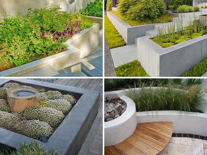 Jardiniere din beton pentru o gradina cu multa vegetatie - Jardiniere din beton pentru o gradina